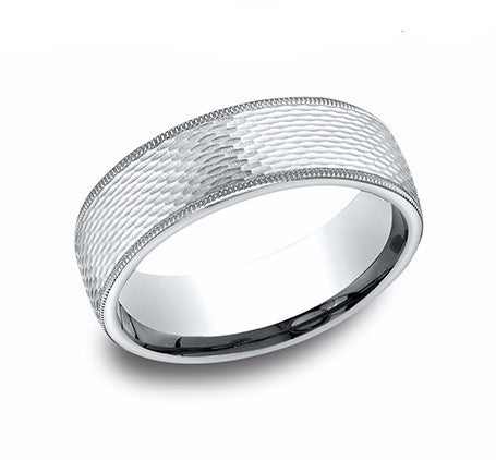14k White Gold 7.5m  Milgrain Edge Satin Mesh Wedding Band Size 10 - from Holsten Jewelers