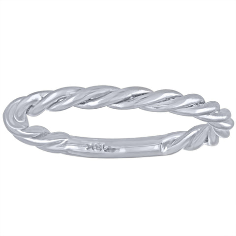 White Gold 2MM Twist Stacking Ring