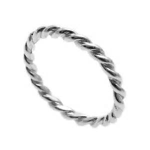 14k White Gold 2MM Twisted Band - from Holsten Jewelers