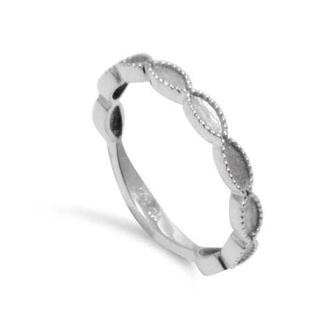 14k White Gold Bubble Milgrain Stacking Ring - from Holsten Jewelers