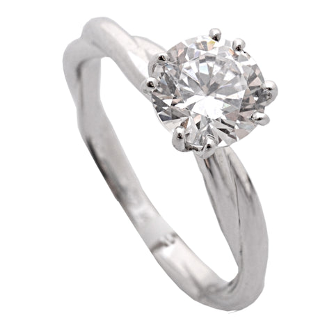 14k White Gold Twisted Solitaire Engagement Ring(center stone not included) - from Holsten Jewelers