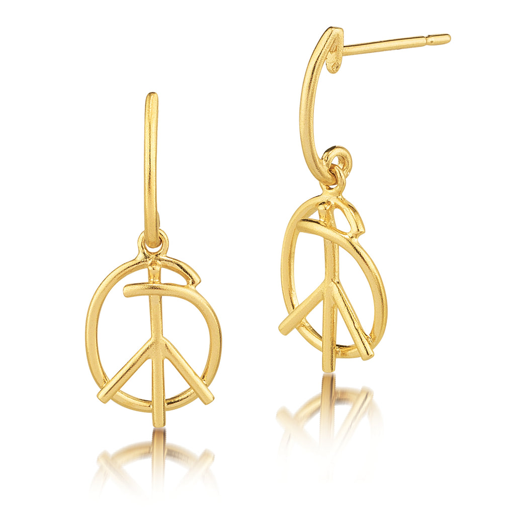 Matte Scribble Doodle Peace Sign Earrings