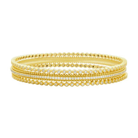Freida Rothman Yellow Sterling Silver Harmony 3-Stack Bangle Bracelet