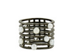Freida Rothman Sterling Silver Industrial Finish Caged Ring With CZ Size 8
