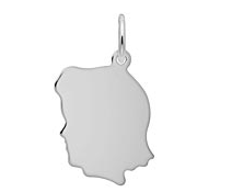 Sterling Silver Girl Head Charm