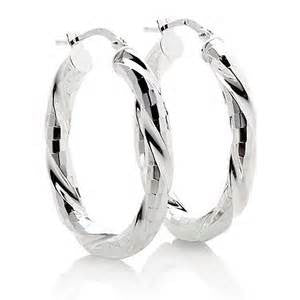 Sterling Textured Hoop Earrings