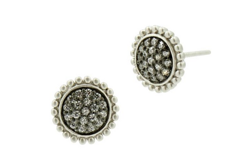 Freida Rothman Lady's Sterling Silver & Gold Sunburst Stud Earrings