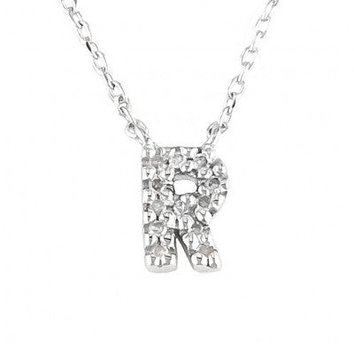 "Sterling Silver CZ Initial ""R"" Pendant"