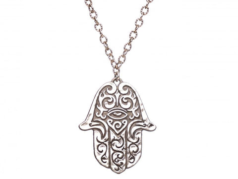 Sterling Silver Tattoo Hamsa  Pendant - from Holsten Jewelers