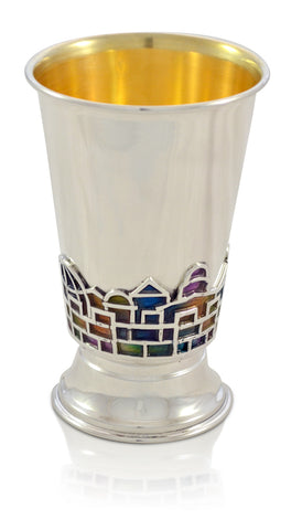 Sterling Silver Kiddush Cup with Colorful Enamel Design