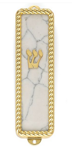 Gold Plated Stone Design Mezuzah
