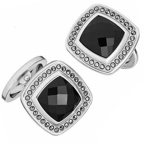 Silver Faceted Square Onyx Cufflink With Marcasite by Jan Leslie