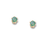 14k Yellow Gold  3mm Emerald Stud  Earrings - from Holsten Jewelers