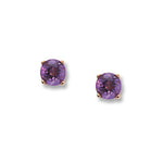 14k Yellow Gold 4mm Amethyst Earrings - from Holsten Jewelers
