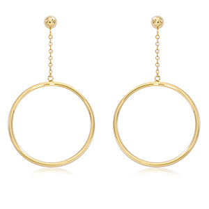 14k Yellow Gold 25Mm Tube Drop With 4mm Ball Earrings - from Holsten Jewelers