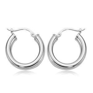 3MM x 18MM White Gold Hoops - from Holsten Jewelers
