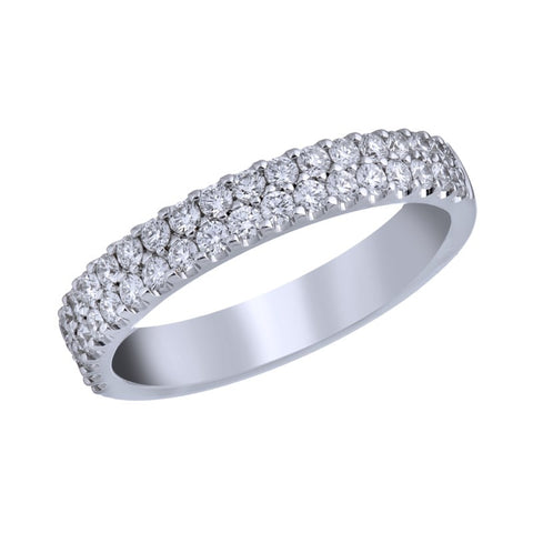 18kt White Gold Two Row Diamond Band