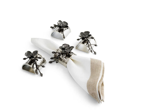 Black Orchid Napkin Ring Set - from Holsten Jewelers
