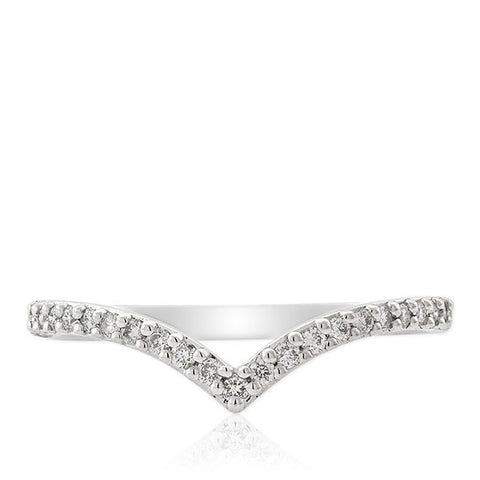 White Gold Diamond Chevron Ring