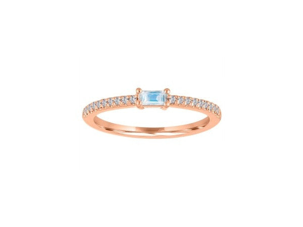 Rose Gold Baguette Moonstone Ring with Diamond Shank