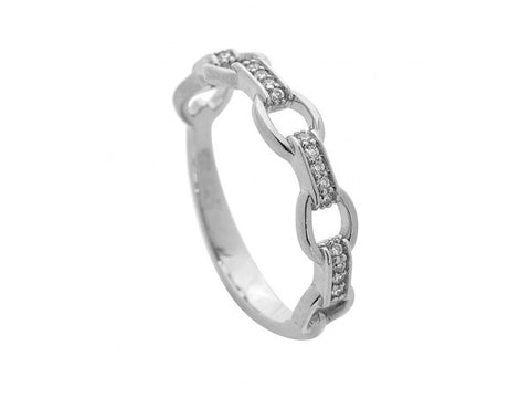 White Circle And Diamond Bar Ring