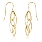 Lady's Yellow 14 Karat Mini Interlocking Almond Drop Earrings - from Holsten Jewelers