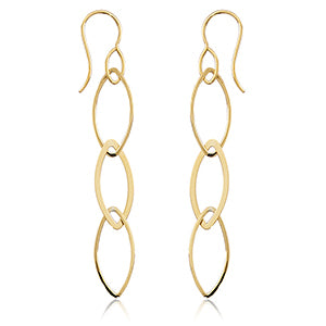 14K Linked Marquise Drop Earrings