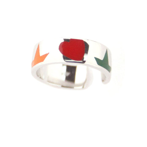 Sterling Silver Enameled Heart & Flower Multicolor Ring