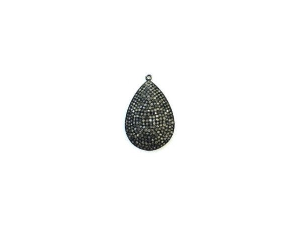 Oxidized Silver Pave Set Diamond Pendant - from Holsten Jewelers