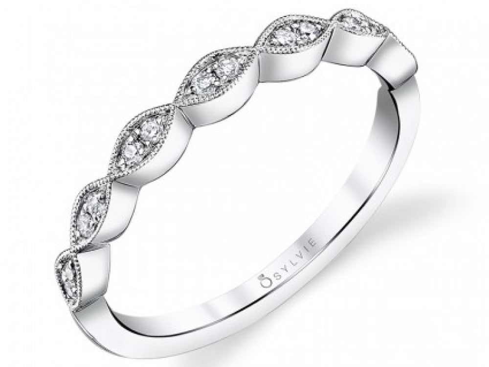 White Gold Vintage Stackable Milgrain Diamond Band