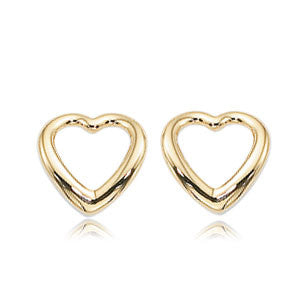 14k Yellow Gold Open Heart Stud Earruings - from Holsten Jewelers