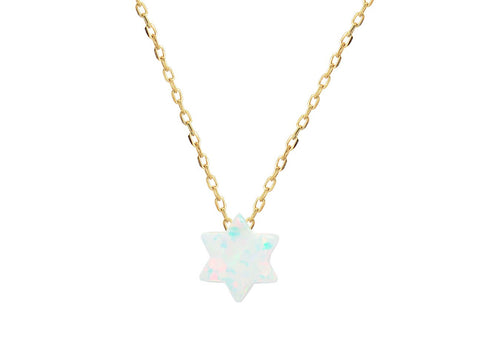 Opal Star of David Pendant on Gold Plated Sterling Silver Chain