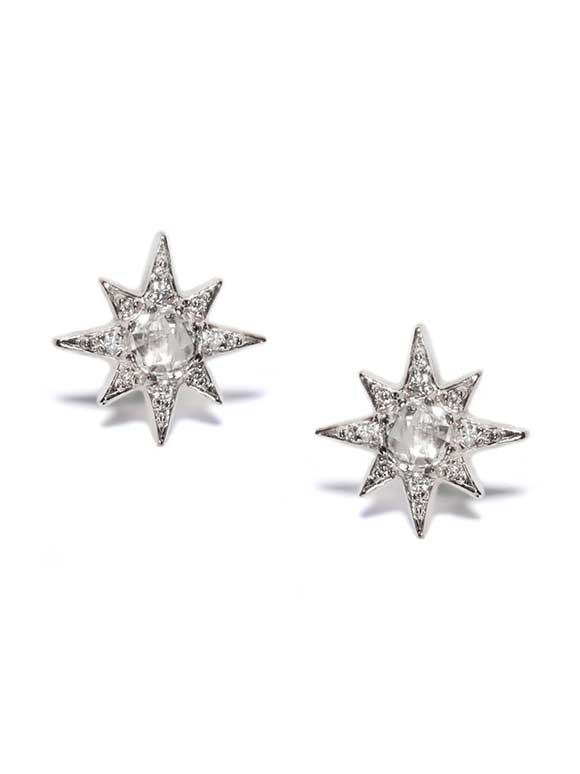Sterling Silver Mini Aztec Starburst With 5Mm White Topaz Earrings