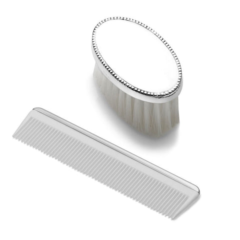 Boys Oval Beaded Design Sterling Brush Comb Set - from Holsten Jewelers