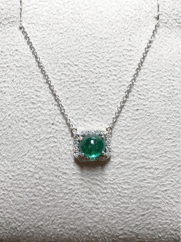 Cabochon Emerald with Diamond Halo Pendant