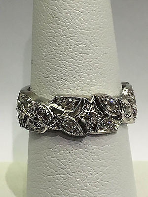 Vintage Platinum Diamond Leaf Pattern Ring Size 6