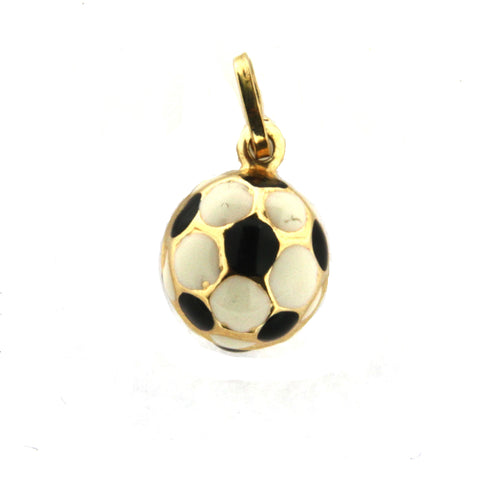 18k Yellow Gold Pink Enamel Soccer Ball Charm - from Holsten Jewelers