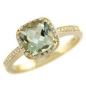 Cushion Peridot & Diamond Ring