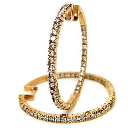 "18k Yellow Gold 1 1/4"" Inside Out Diamond Hoop Earrings - from Holsten Jewelers"
