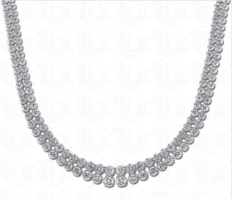 14k White Gold Double Row Diamond Riviera Necklace