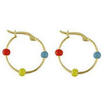 18K Yellow Gold  Hoops With Multi Color Enamel Beads - from Holsten Jewelers