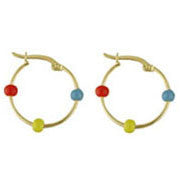 18KT Multicolor Enamel Ball Hoops - from Holsten Jewelers