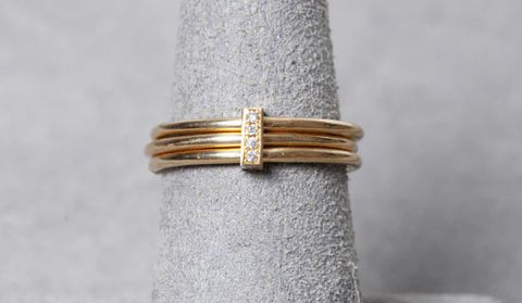 14K Yellow Gold Diamond Strip Triple Band