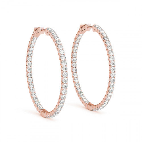 Rose Inside Out Diamond Hoop Earrings