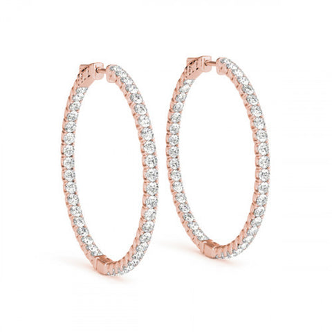 "18k Rose Gold 1 3/4""  Inside Out Diamond Hoop Earrings - from Holsten Jewelers"