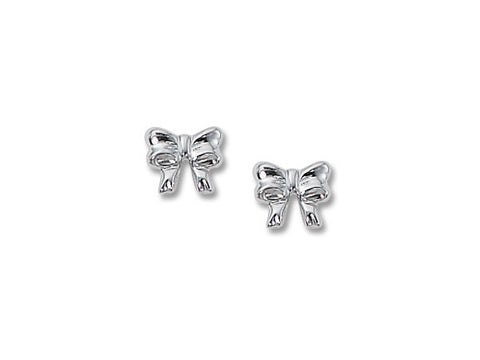 White Gold Bow Studs