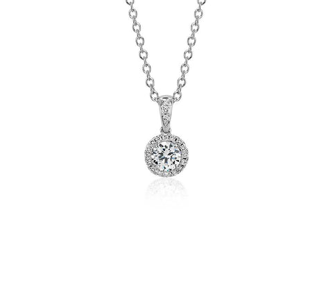 18k White Gold Diamond Halo Pendant .32ct Center-chain not included - from Holsten Jewelers