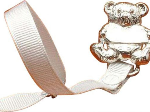 Silver Bear Pacifier with Ribbon
