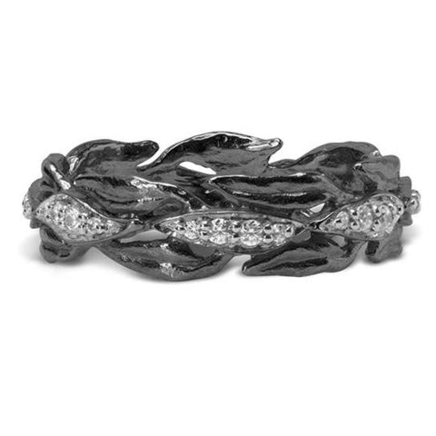 Laurel Ring with Diamonds in Black Rhodium Sterling Silver - from Holsten Jewelers