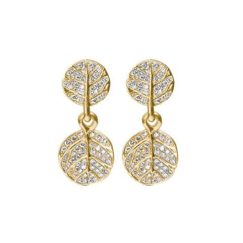 Botanical Leaf Pave Double Drop Earrings - from Holsten Jewelers